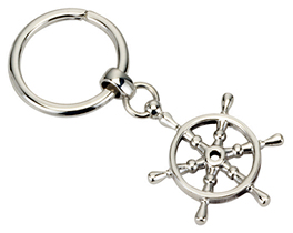 Silver Boat Wheel Key Ring