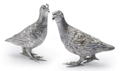 Pair Silver Cast Grouse