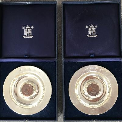 CHRISTOPHER LAWRENCE Pair Silver BRITANNIA Dishes