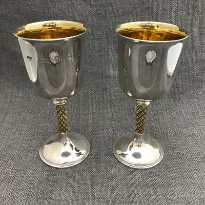 ANTHONY ELSON Pair Silver Goblets