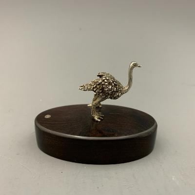 PATRICK MAVROS Silver PLACE CARD HOLDER - OSTRICH