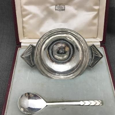 R E STONE Boxed Silver Bowl and Spoon