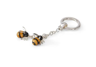 SATURNO Silver and Enamel Bee Keyring