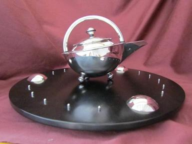 Silver 'Orbit' Teapot on Tray