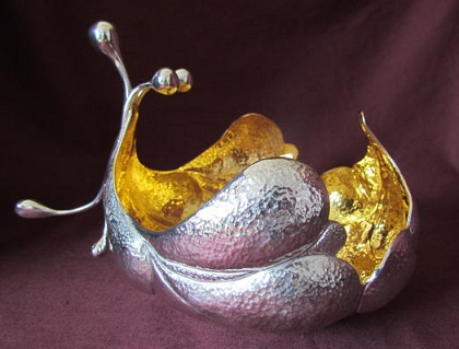 Steve Wager Hand Chased silver 'Lilly' Bowl