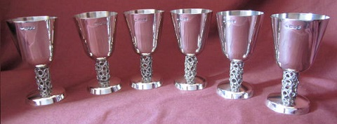 6 Silver Goblets