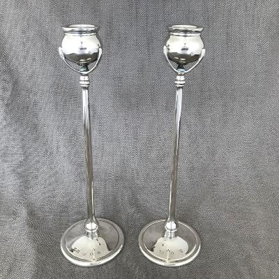 Silver Tiffany Style Candlesticks