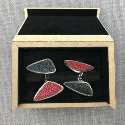 JAMES DOUGALL Silver and Shagreen Cufflinks