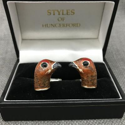 Saturno Silver & Enamel GROUSE Cufflinks