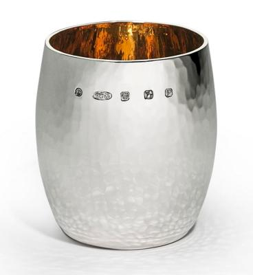 Heavy Silver Hammered Barrel Beaker