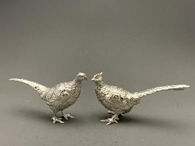 Pair Small Silver PHEASANTS