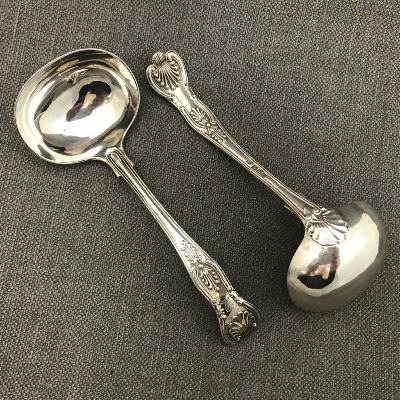 Pair Silver 'KING'S PATTERN' Sauce Ladles