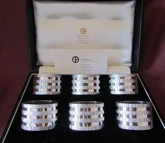 GERALD BENNEY Boxed Set of Silver Napkin Rings
