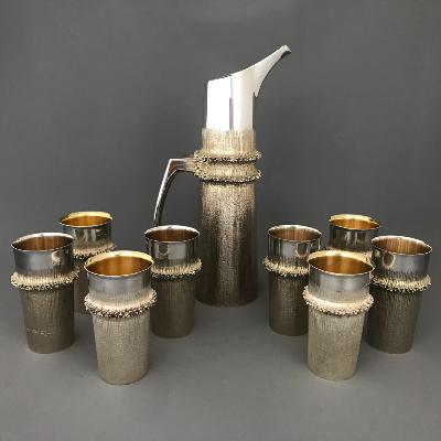 CHRISTOPHER LAWRENCE Silver Water Jug + 8 Beakers