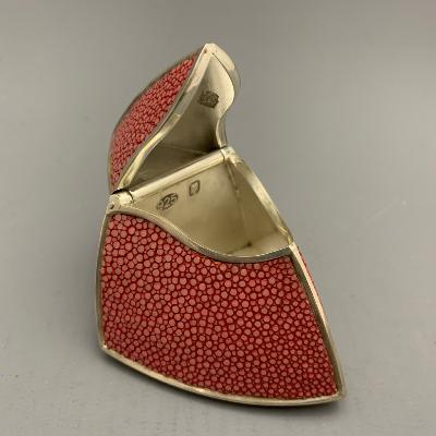JAMES DOUGALL Large Silver and Red Shagreen BOX