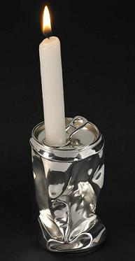Silver Crushed Can Candlestick
