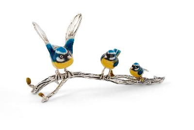 Saturno Silver and Enamel Blue Tits on a branch