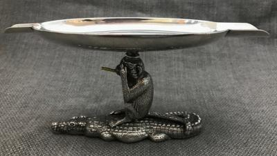 PATRICK MAVROS  Silver Crocodile & Monkey Ashtray