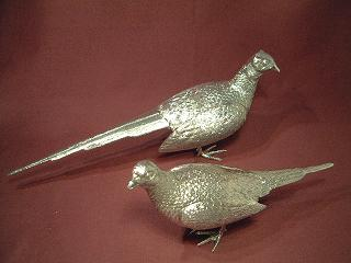 Pair Large Cast Silver Pheasants