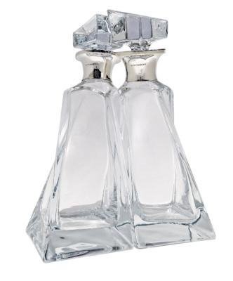 Pair Silver 'Lovers' Decanters