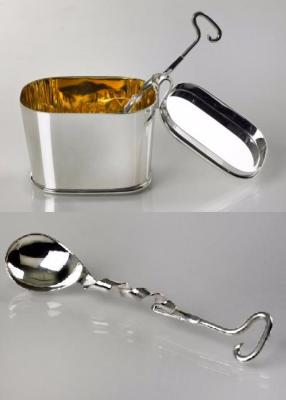 REBECCA JOSELYN Silver Sugar Bowl and Spoon