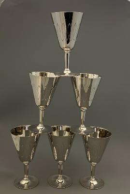 BLUNT & WRAY 6 Silver GOBLETS