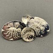x MALCOLM APPLEBY Silver BEE CUFFLINKS (OVAL)