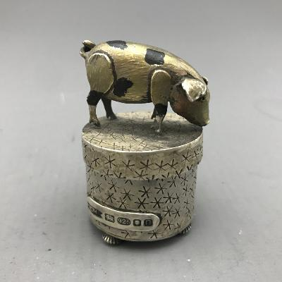 CAROL MATHER Silver PIG BOX