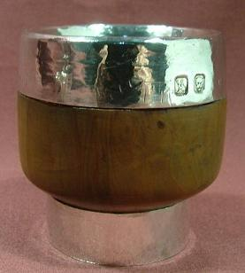 y LOUIS OSMAN Silver and Wood Beaker