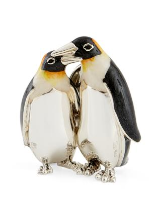 Saturno Silver and Enamel Penguin Couple