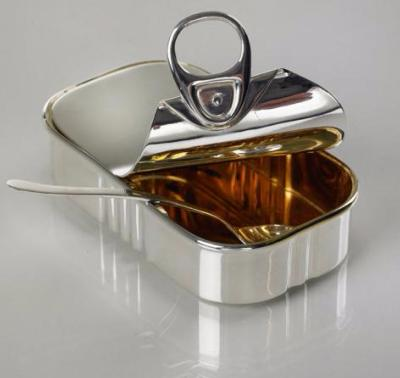 "Contemporary Design Silver ""Sardine Tin"" Mustard Pot"