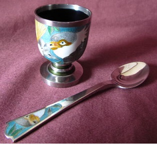 MAUREEN EDGAR Silver and Enamel Egg Cup and Spoon