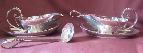 Pair R E STONE Silver Sauce Boats