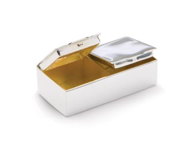 Silver PILL BOX - TWO COMPARTMENTS