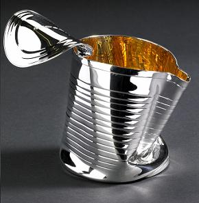 Contemporary Design Silver 'Crushed Can'  Cream Jug