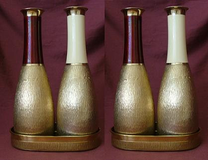GERALD BENNEY Two Pairs Silver & Enamel Wine Carafes on Double Coasters