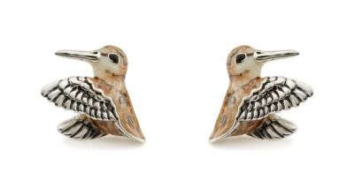 SATURNO Silver and Enamel WOODCOCK CUFFLINKS