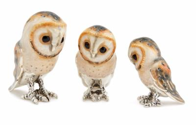 Silver and Enamel Barn Owl