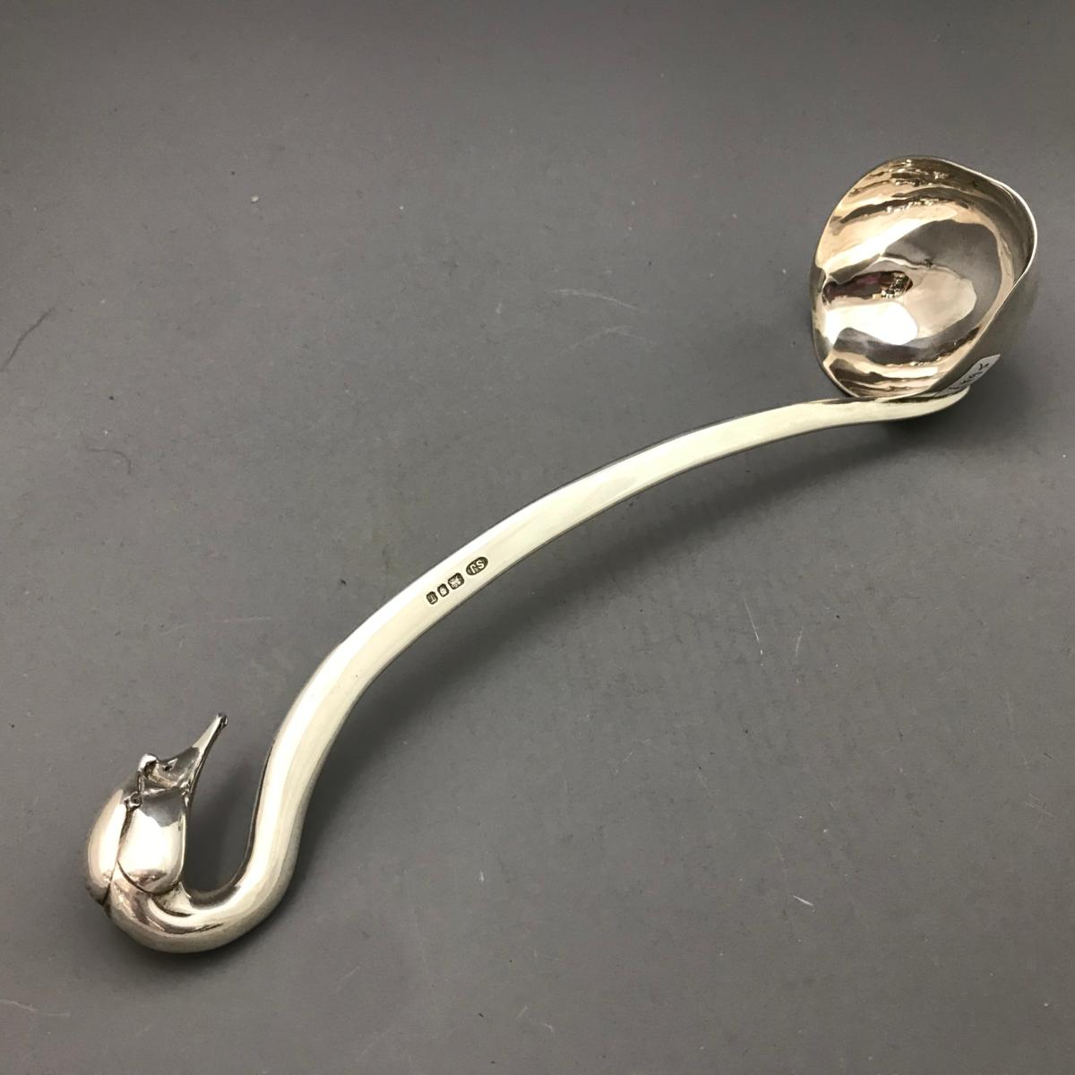 SARAH JONES Large Silver 'Swan's Head' Ladle