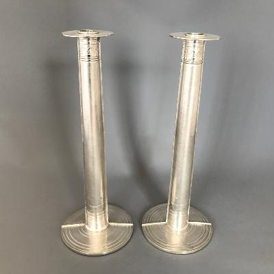 ADRIAN HOPE Pair Silver Candlesticks