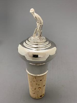 Silver BOTTLE STOPPER - CRICKET