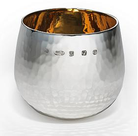 Heavy Silver Hammered Tumbler