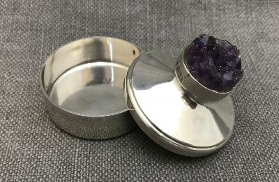 STUART DEVLIN Silver and Amethyst Box