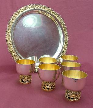 GRAHAM WATLING Silver Tray and Goblets