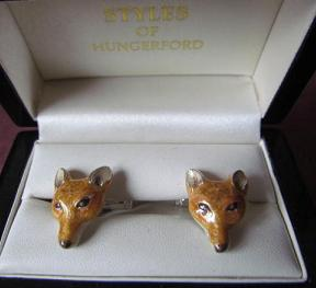 x Saturno Silver and Enamel FOX Cufflinks