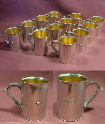 MICHAEL BOLTON Set of Twelve Silver Port Mugs