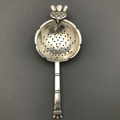 R E STONE Silver SCOTTISH THISTLE Tea Strainer