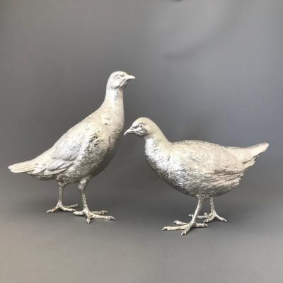 Large Pair Silver Partridge