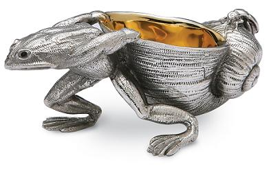 Silver Plated Frog and Snail Salt