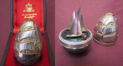 "Silver ""Three Ships"" Christmas Egg"